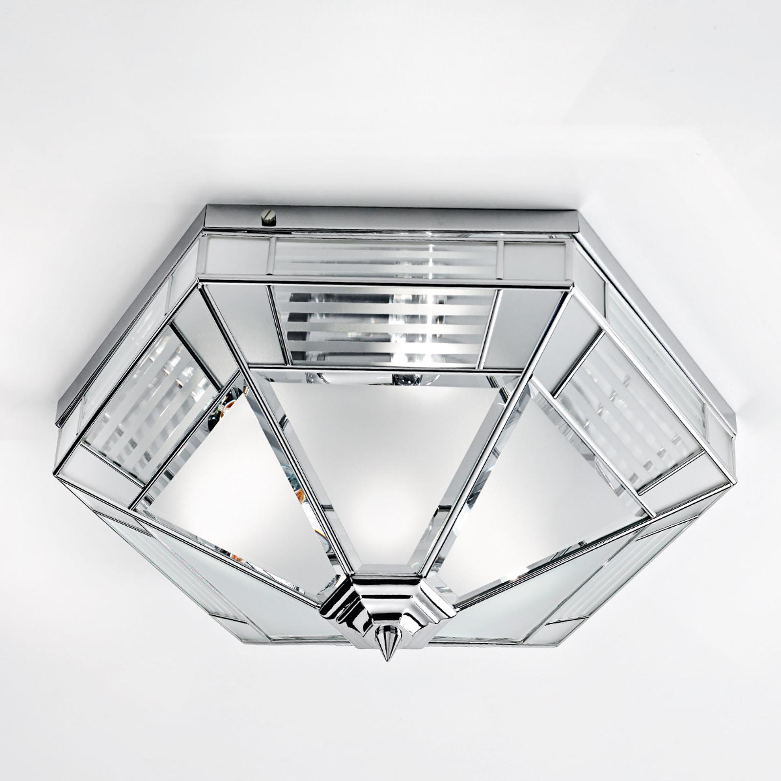 Giana zeshoekige plafondlamp, chroom