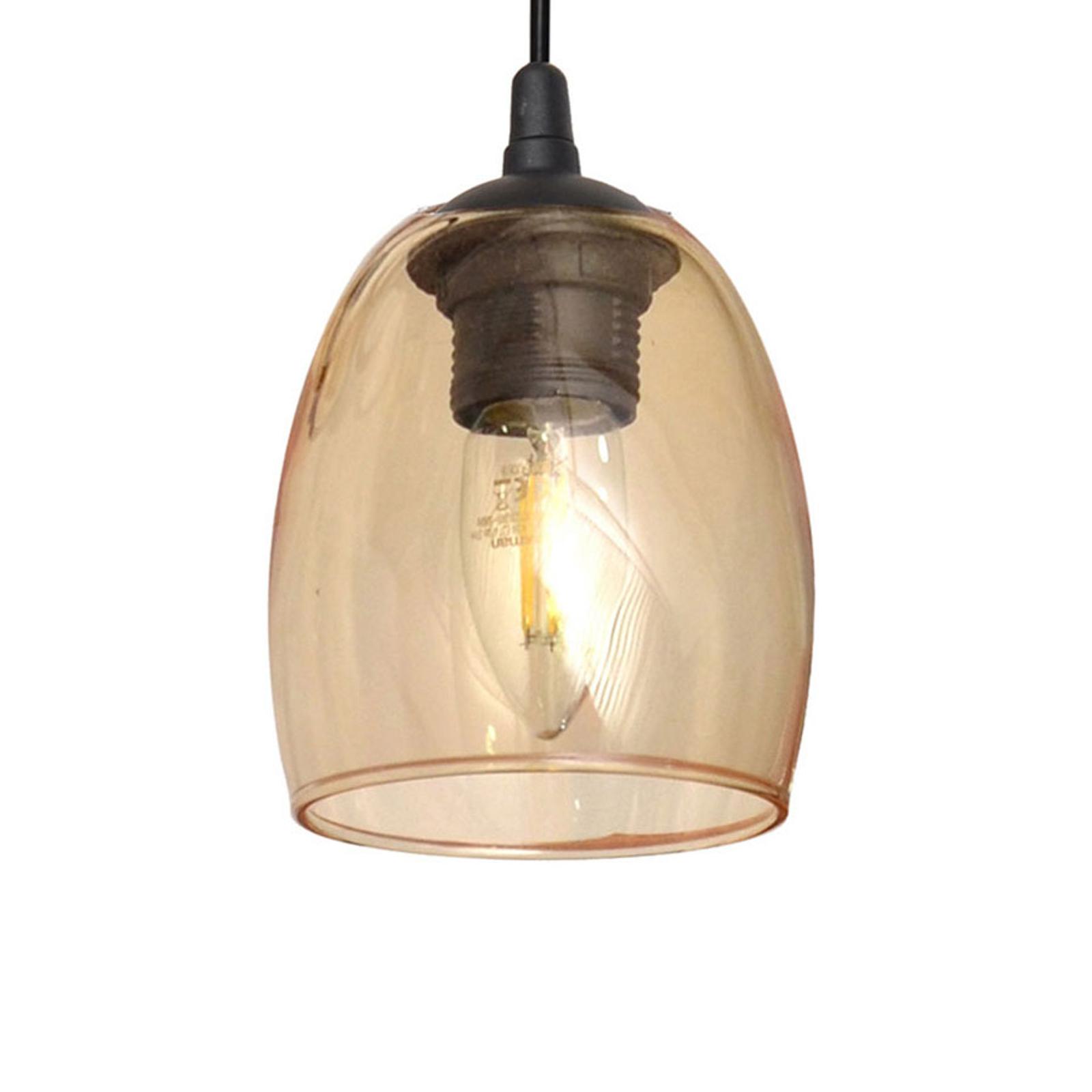 Lampa wisząca Brilliant szklany klosz bursztyn