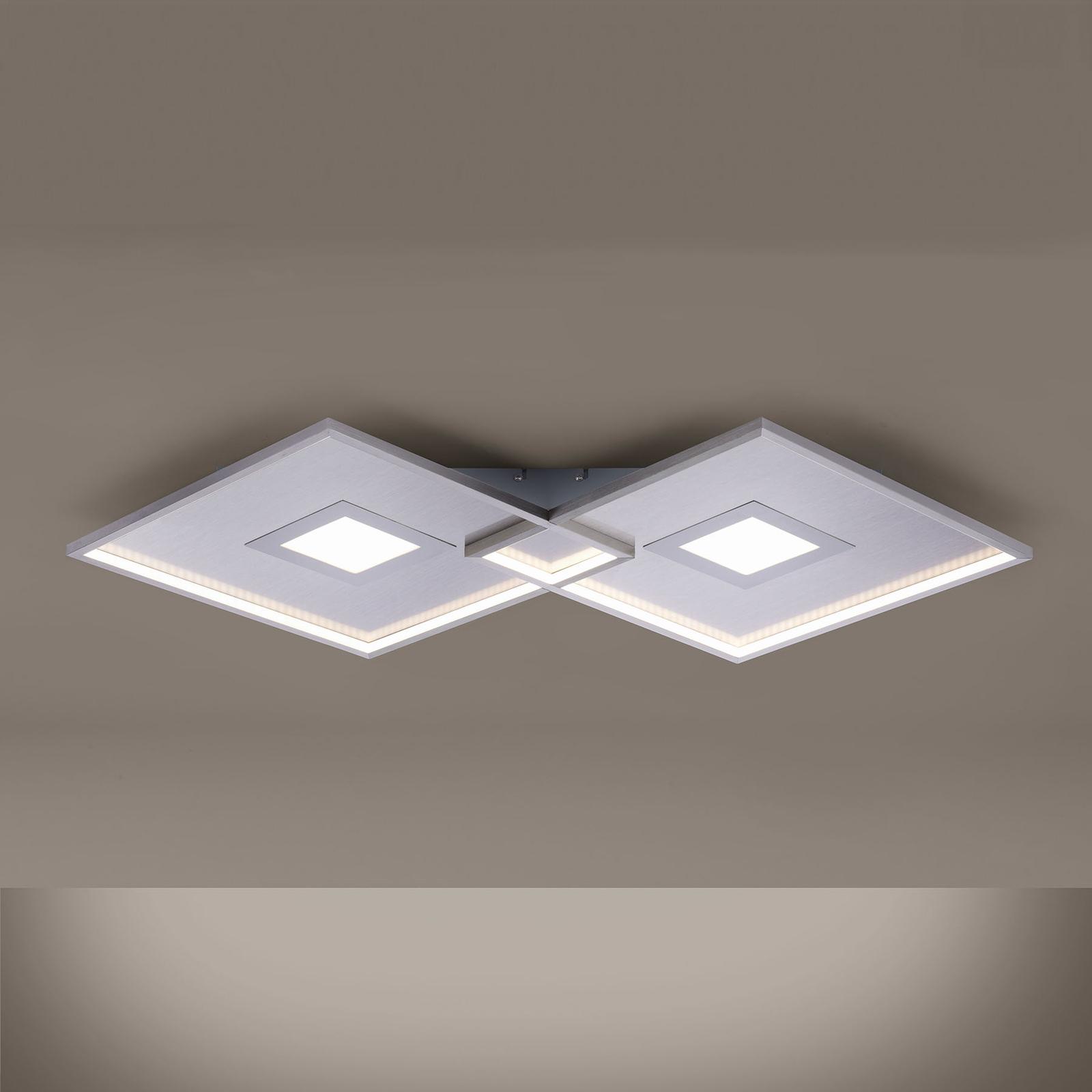 LED plafondlamp Amara, twee vierkanten, zilver