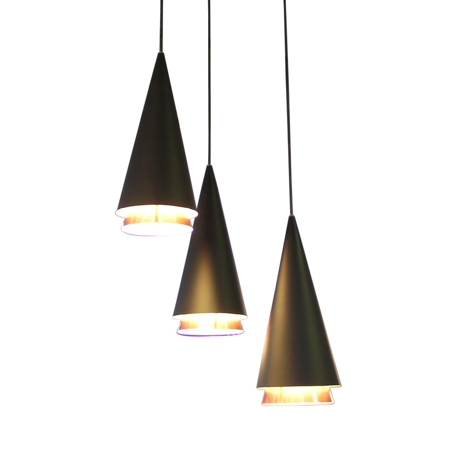 Lucande Naoh hængelampe rondell, 3lk, sort