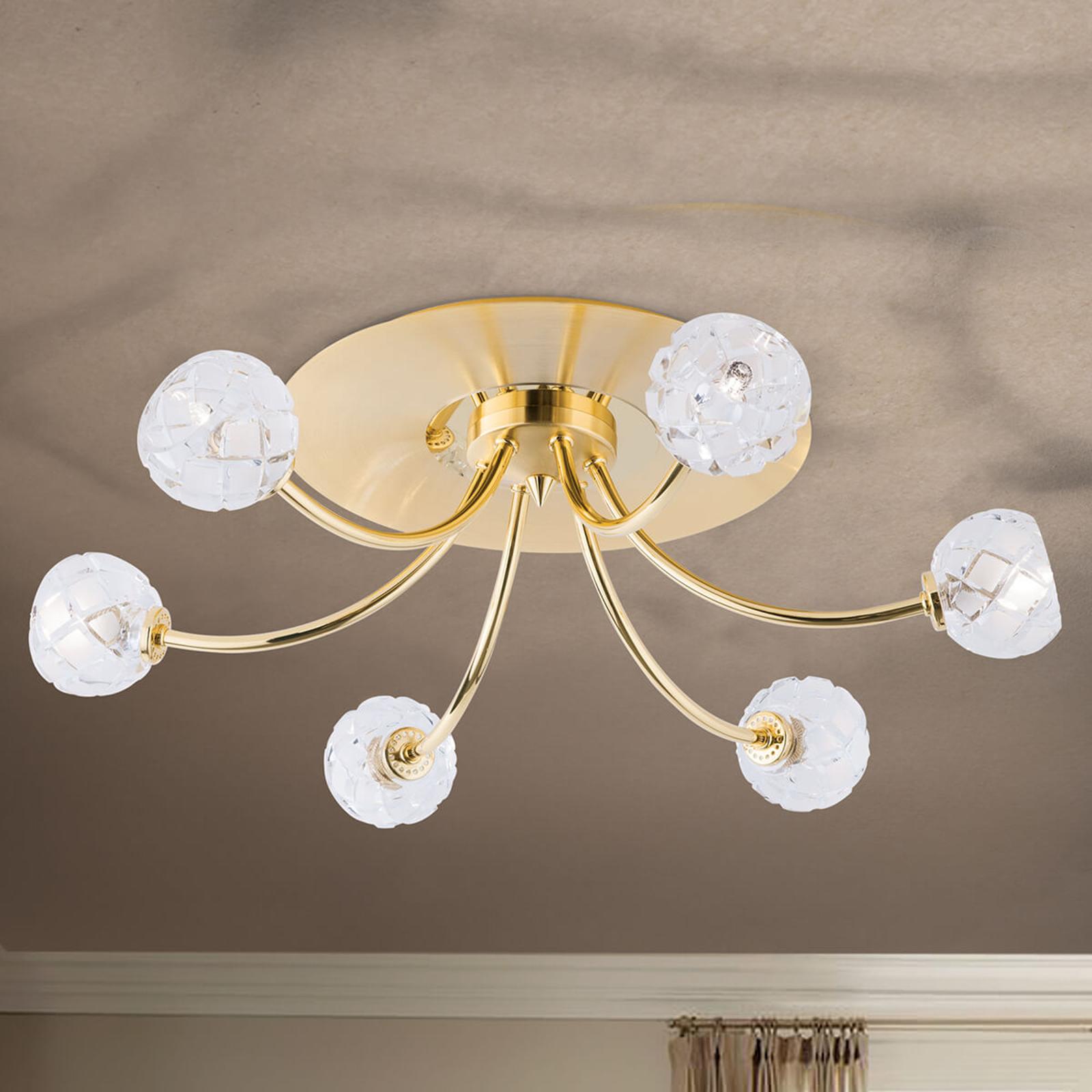 Loodkristal-plafondlamp Maderno, goud, 57cm