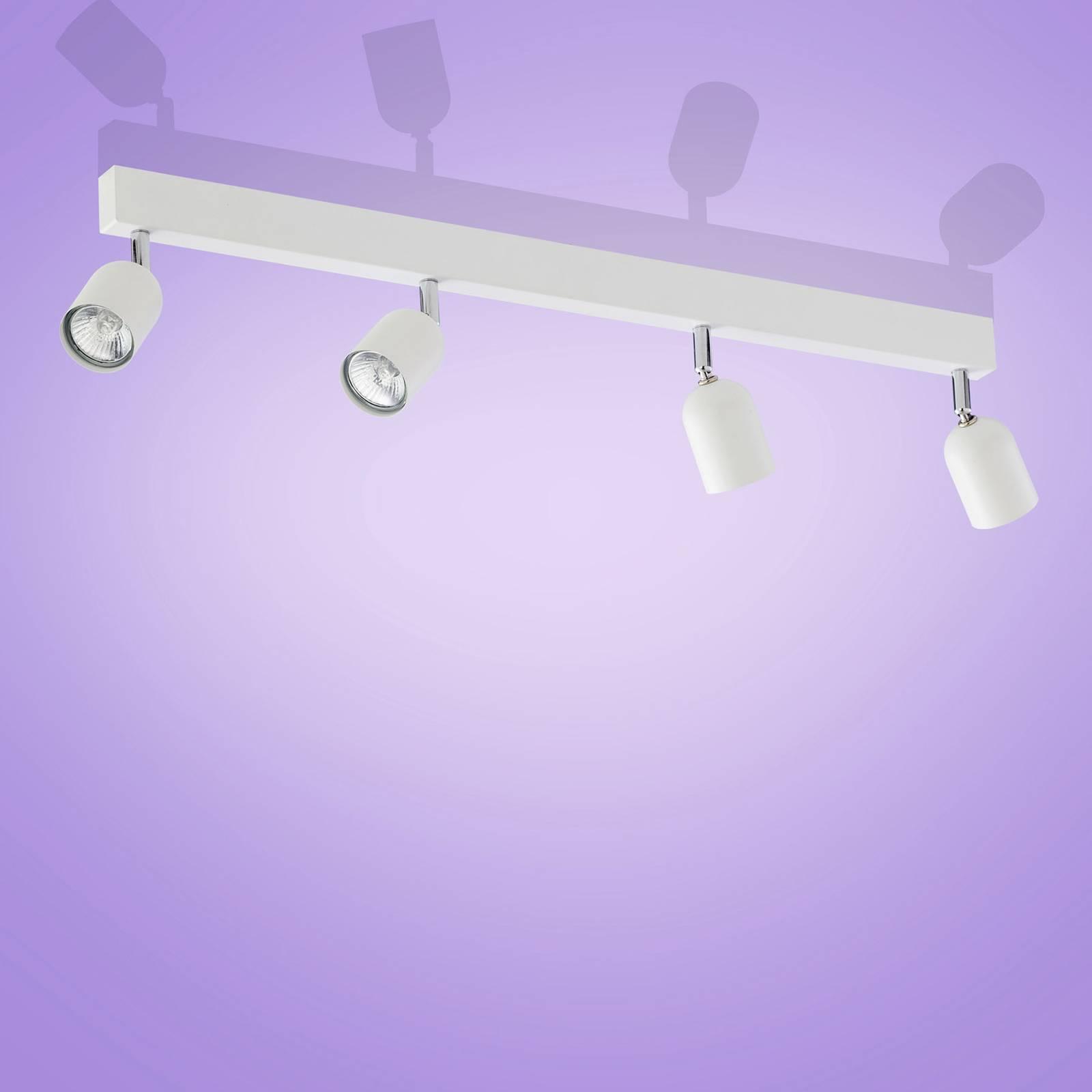 Spot da soffitto Top, 4 luci, lungo, bianco