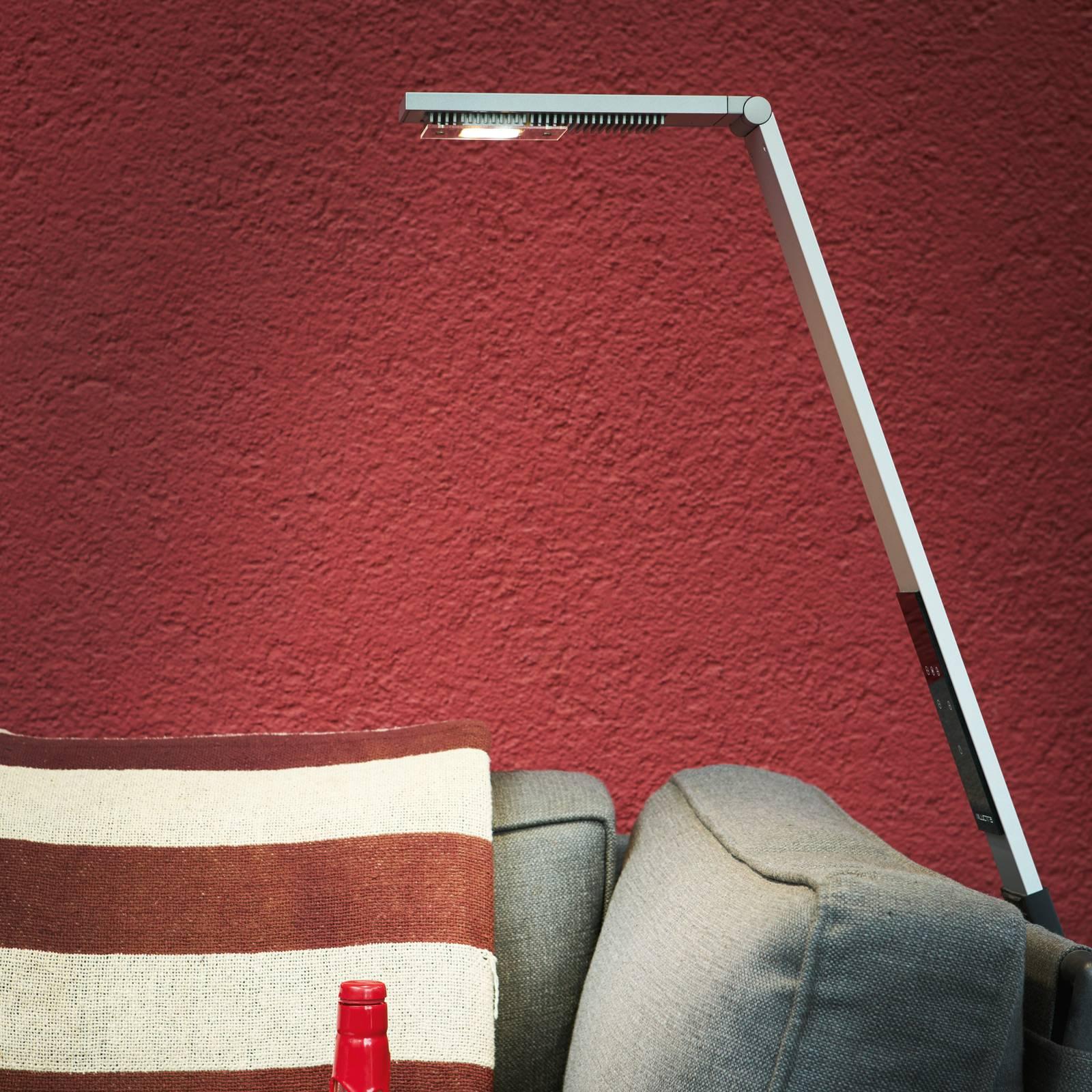 Luctra Flex LED vloerlamp snoerloos, accu alu