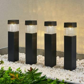 Lindby Fanney LED-jordspyd med solcelle, sæt med 4