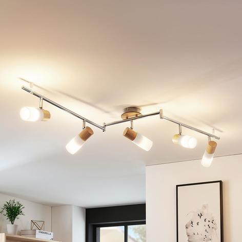 Beau plafonnier LED Christoph en bois, 5 lampes