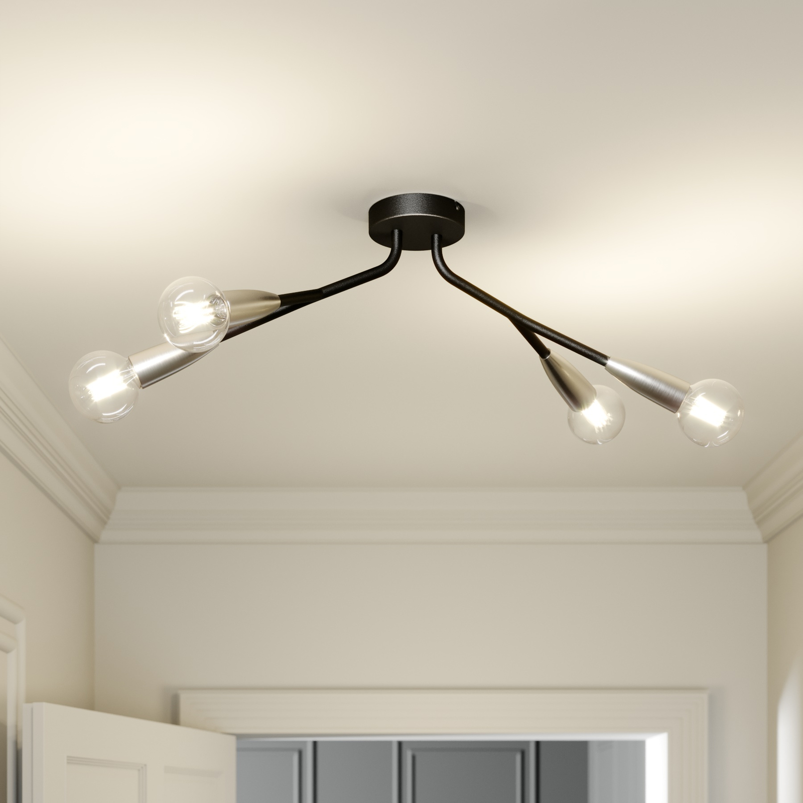 Lucande Carlea taklampe, 4 lyskilder, svart nikkel