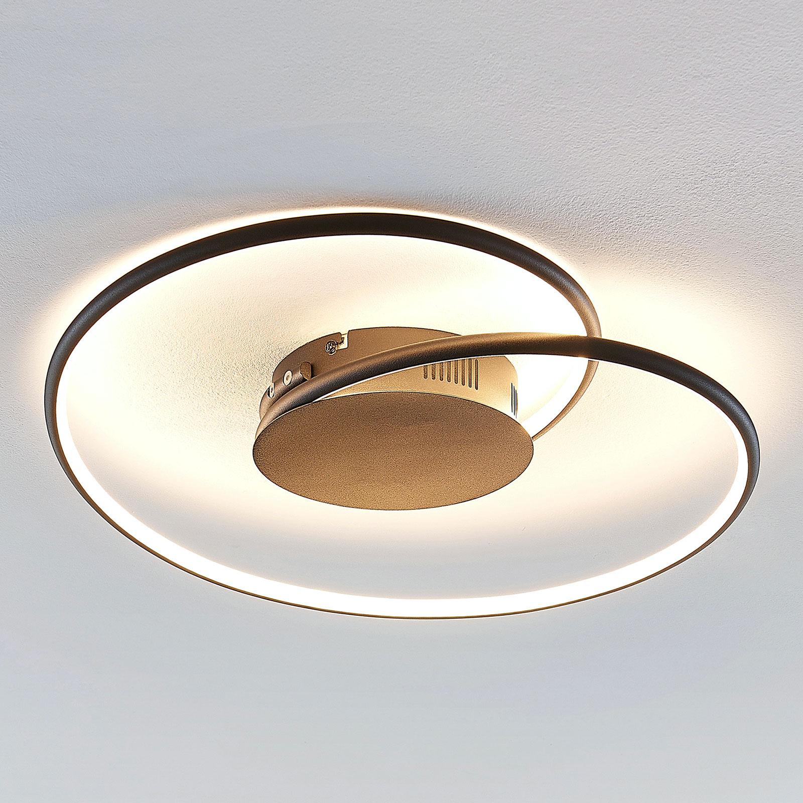 Lindby Joline lampa sufitowa LED, czarna 45 cm
