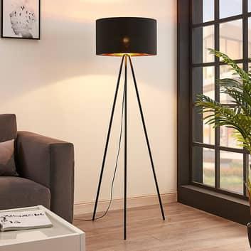 Trojnohá textilní stojací lampa Folke, černá