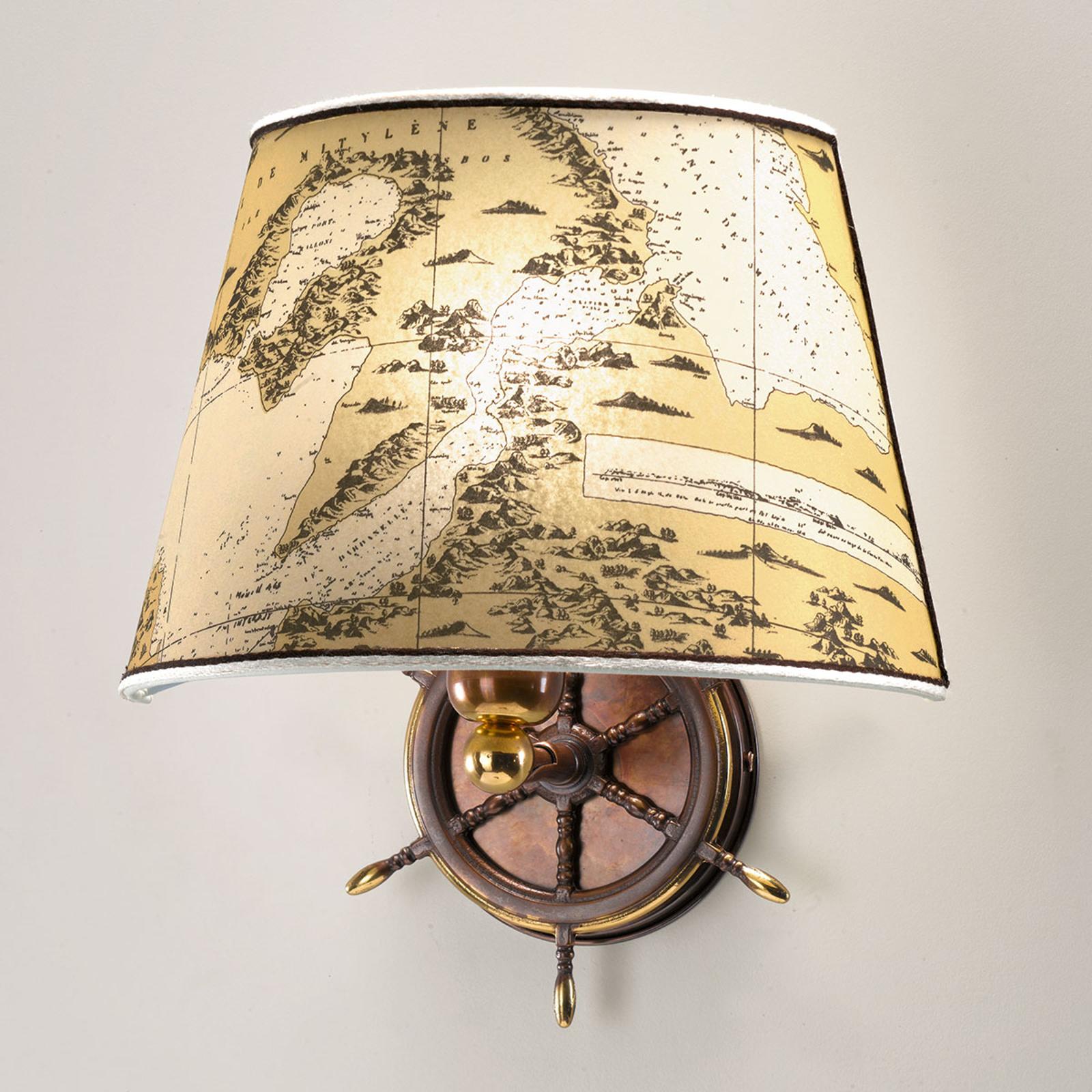 Antyczna lampa ścienna Nautica koło sterowe