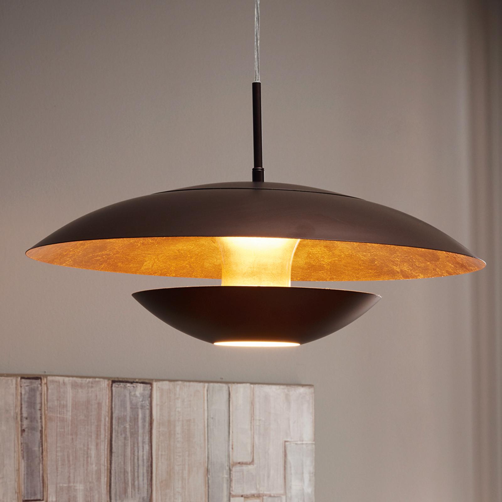 Bruin-goud gelakte hanglamp Nuvano
