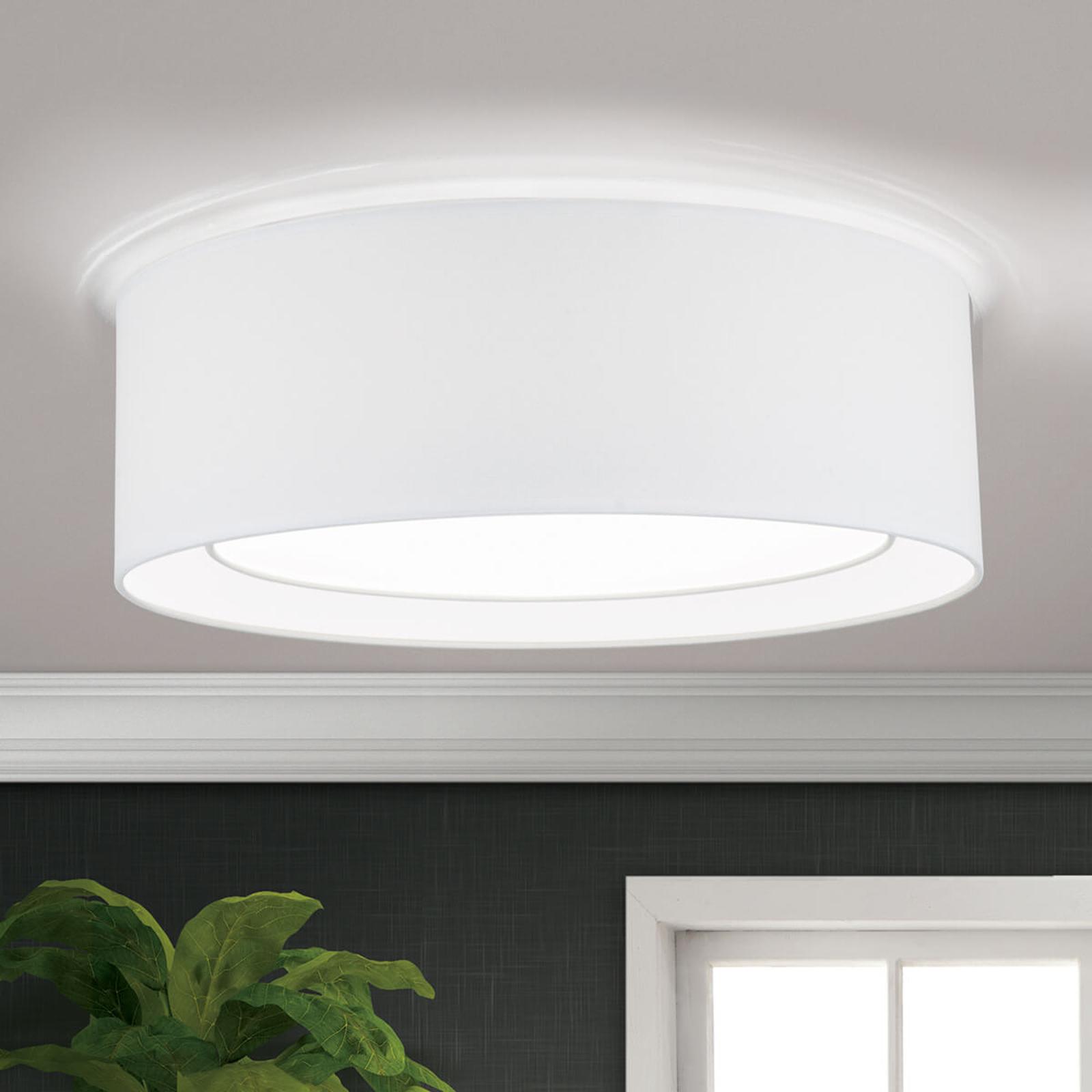 Okrągła lampa sufitowa Antoni z tkaniny, biała
