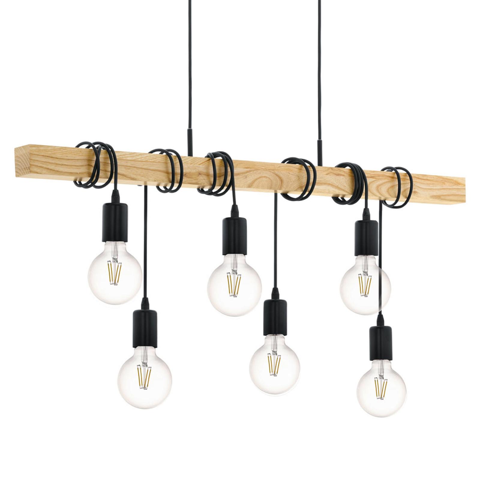 Závěsné světlo Townshend s dřevem, šestižárovkové