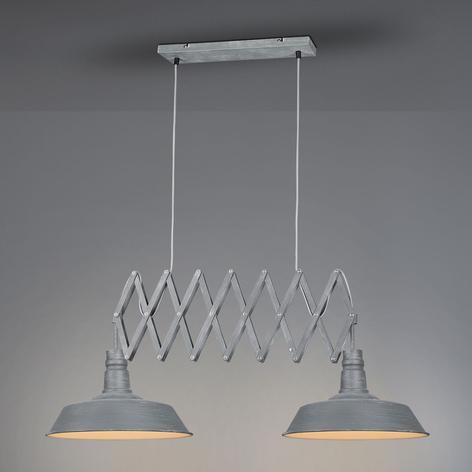 Hanglamp Detroit met twee lampjes in betongrijs