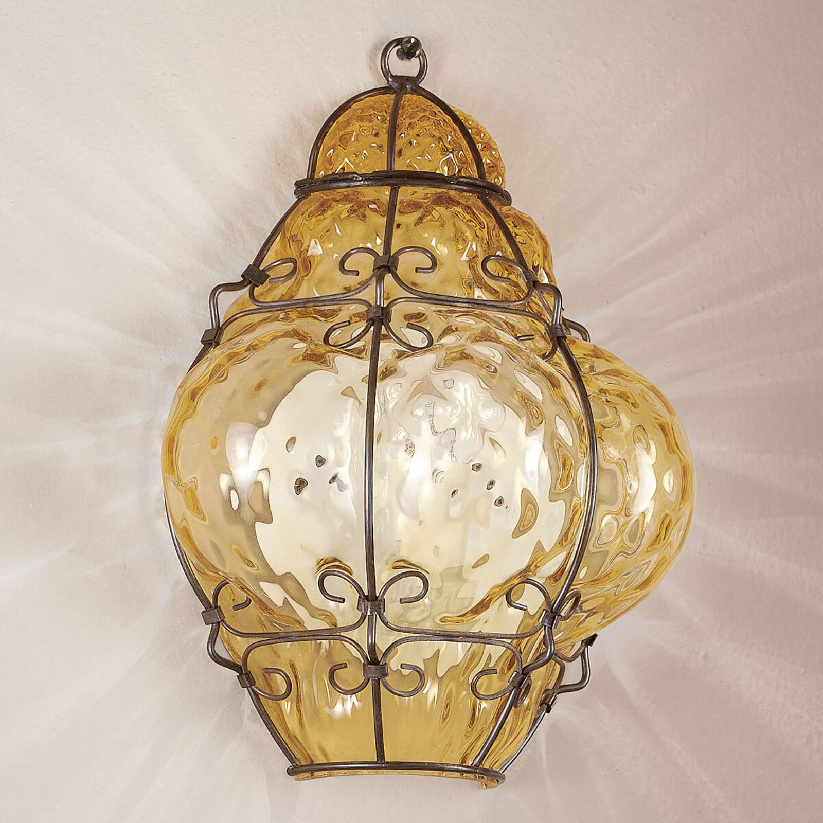 Vegglampe Classic munnblåst, rav
