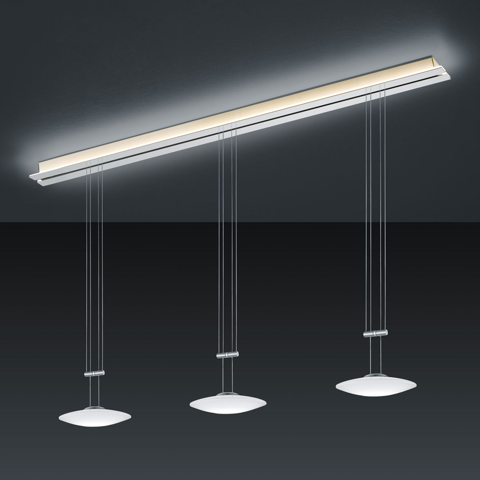 BANKAMP Strada Orbit lampa wisząca, 3-pkt., 155 cm