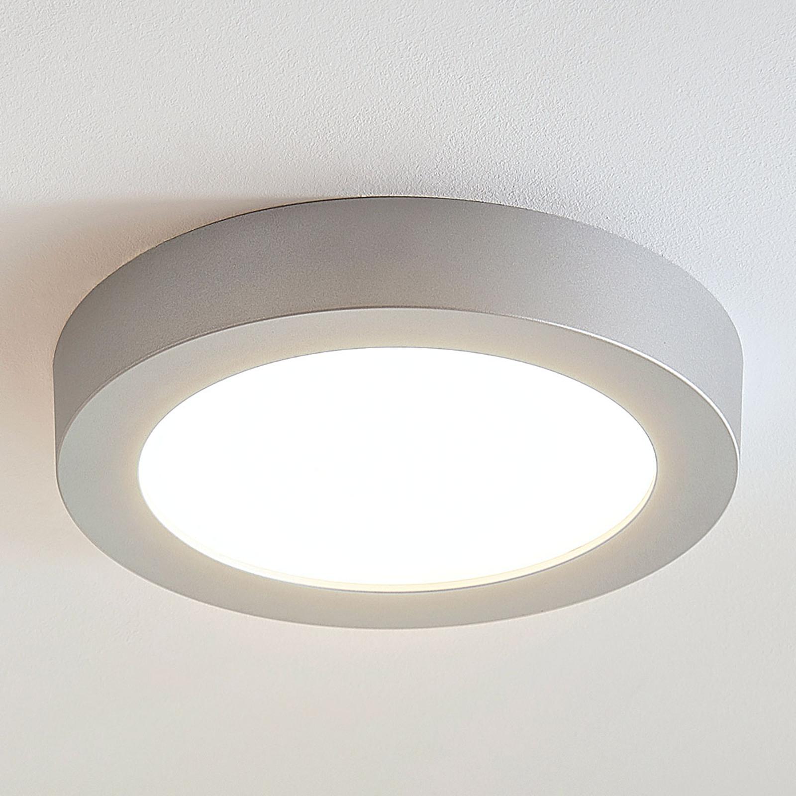 Plafoniera LED Marlo argento 3.000K rotonda 25,2cm