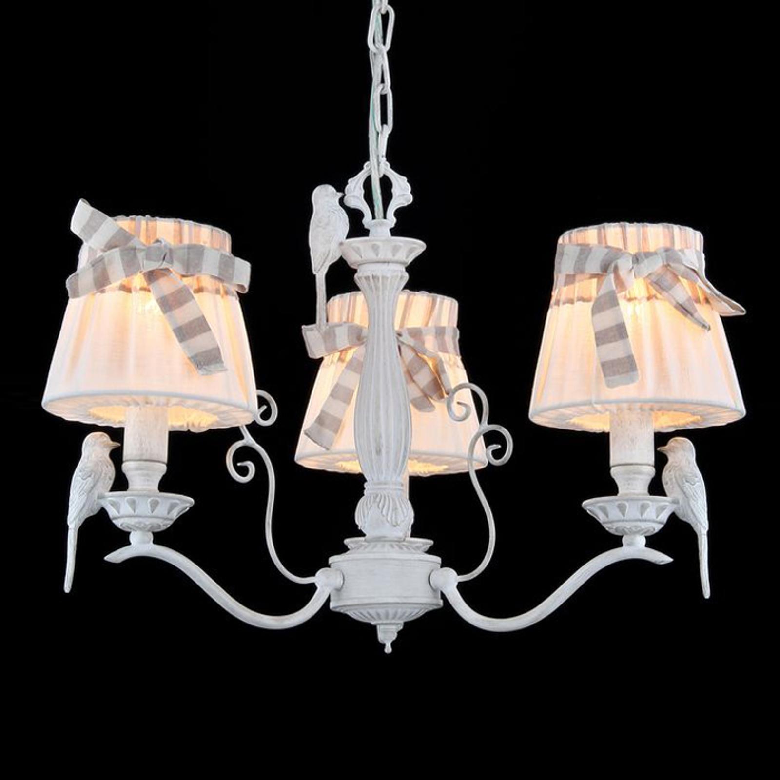 3-punktowa lampa wisząca Bird z lnianymi kloszami