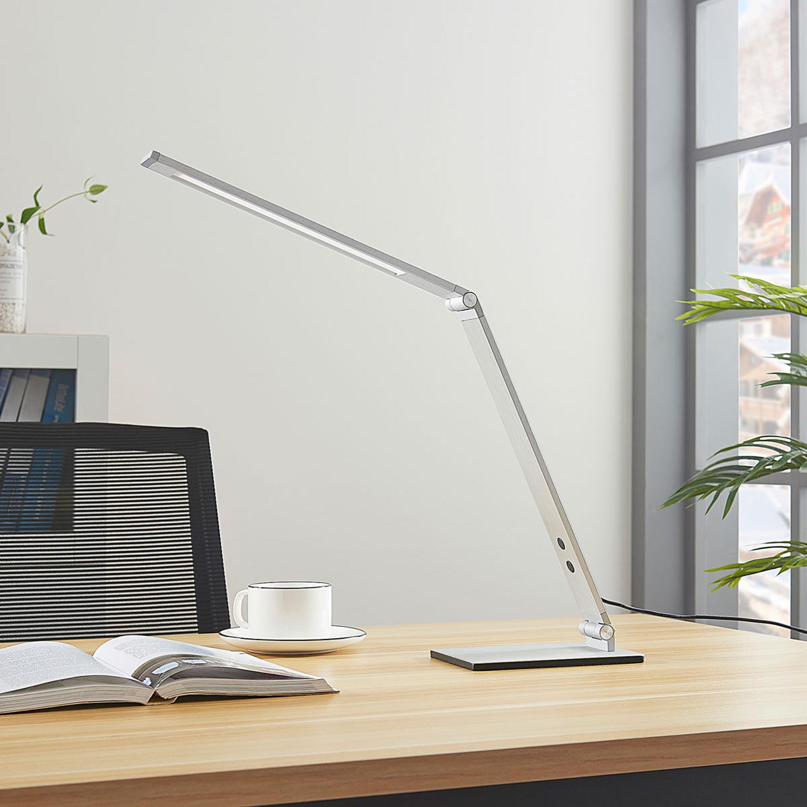 Lampe de bureau LED Nicano alu avec variateur