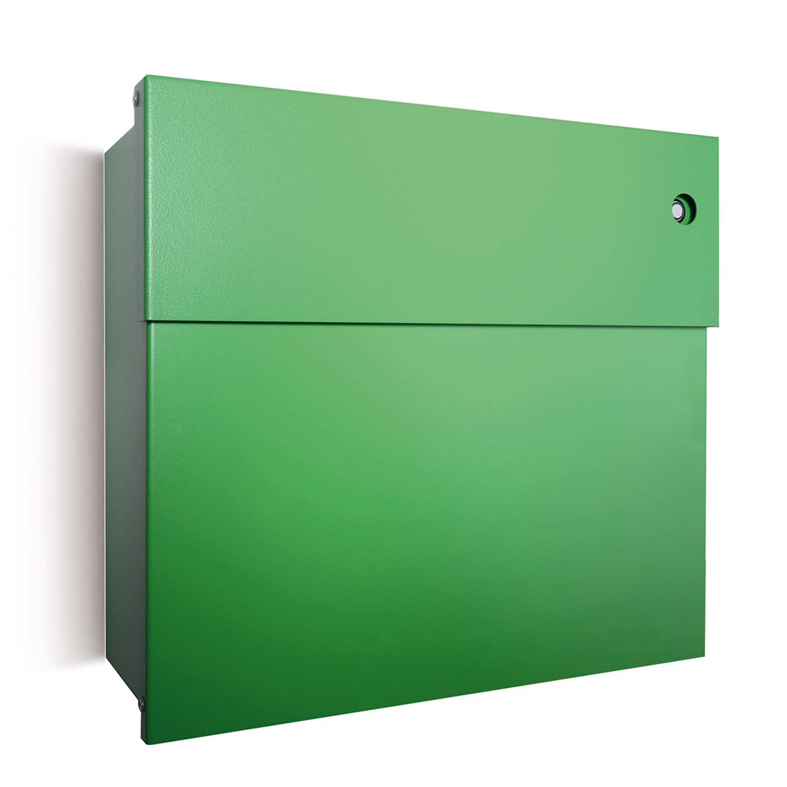 Briefkasten Letterman IV, blaue Klingel, grün