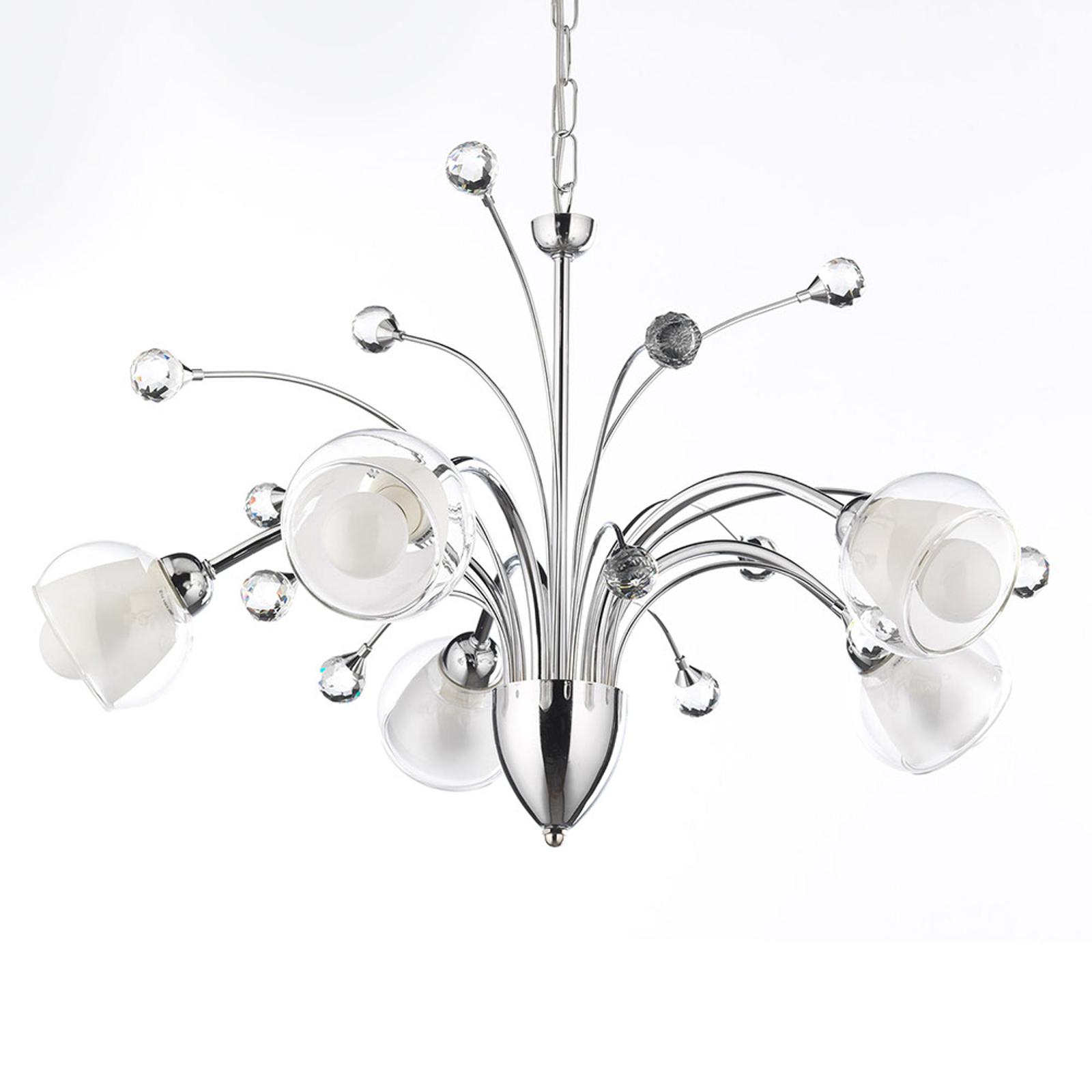 Lampa wisząca Diamante chrom pięć szklanych kloszy