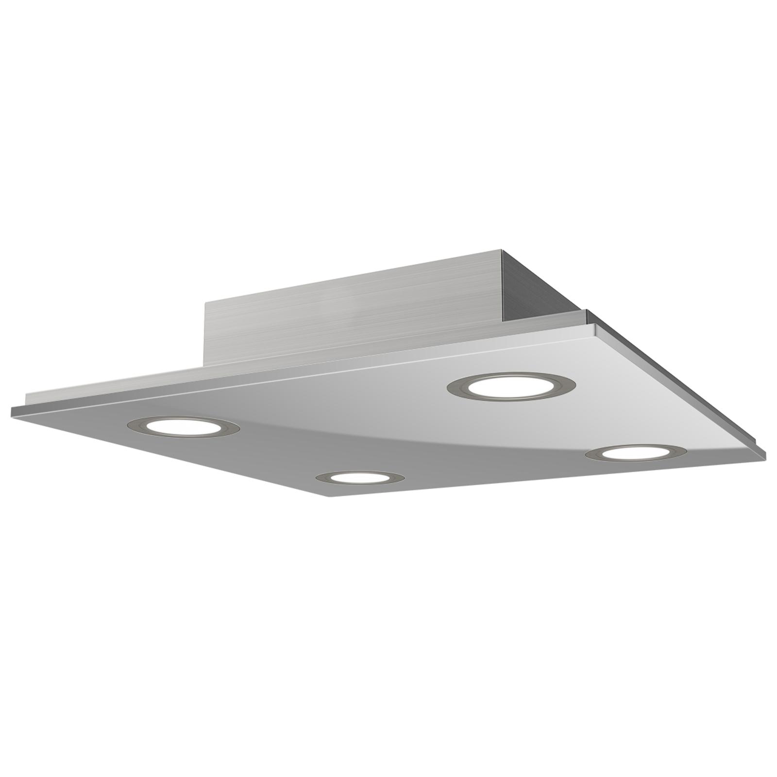 Kvadratisk LED-taklampe Pano, metallic