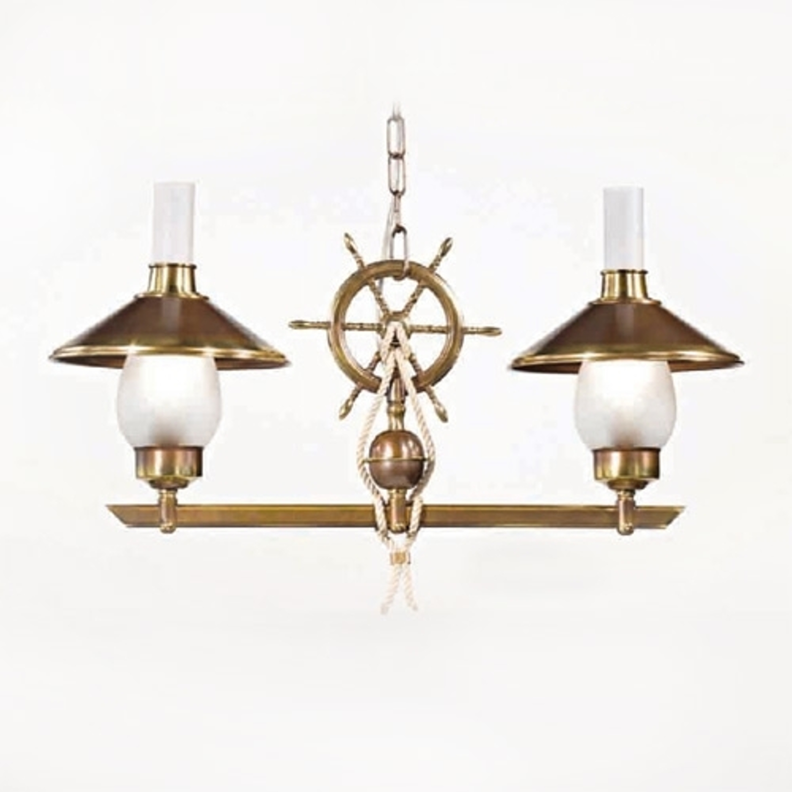 Grecale hengelampe med to lys og dekorativt ror