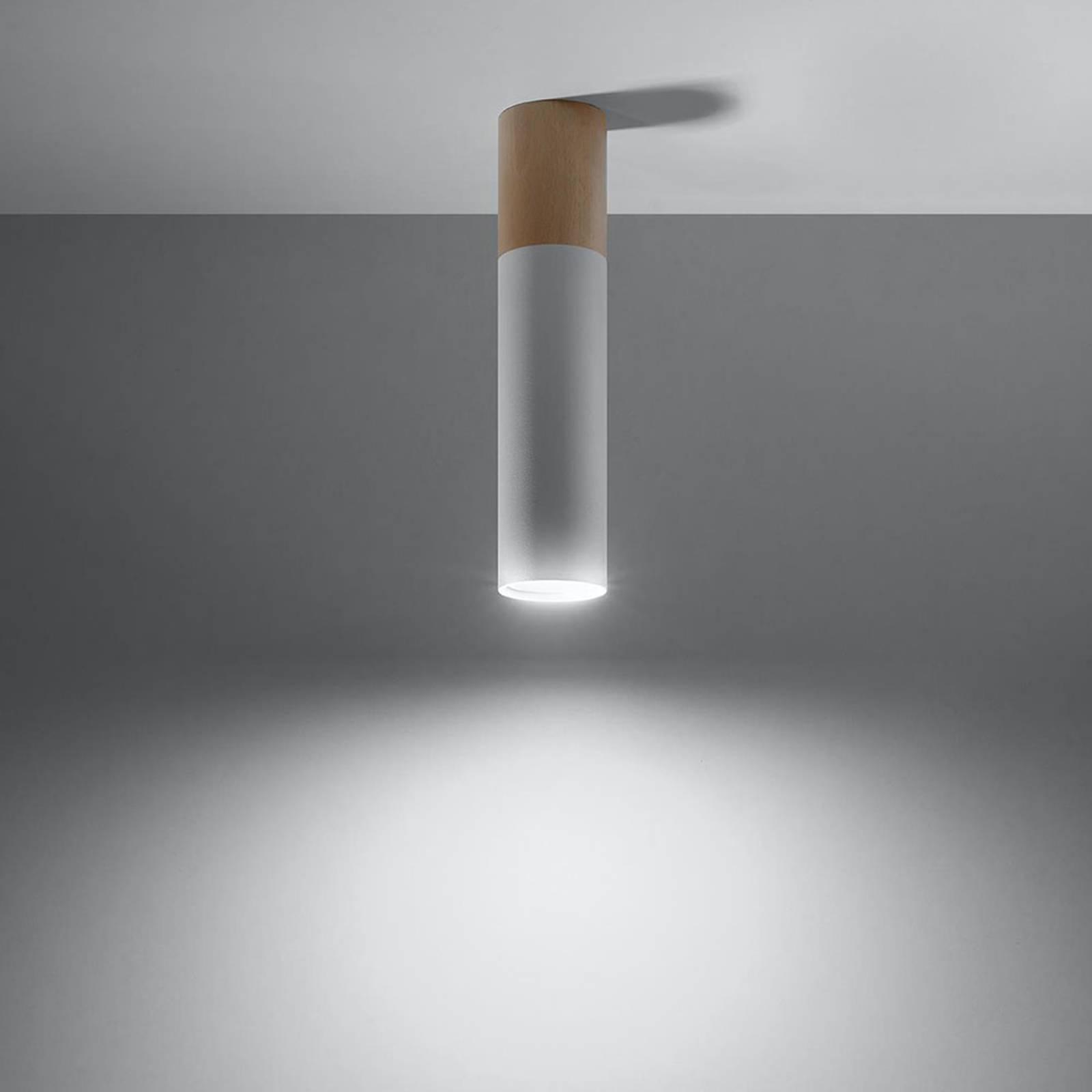 Deckenleuchte Tube in Zylinderform, Holz/weiß
