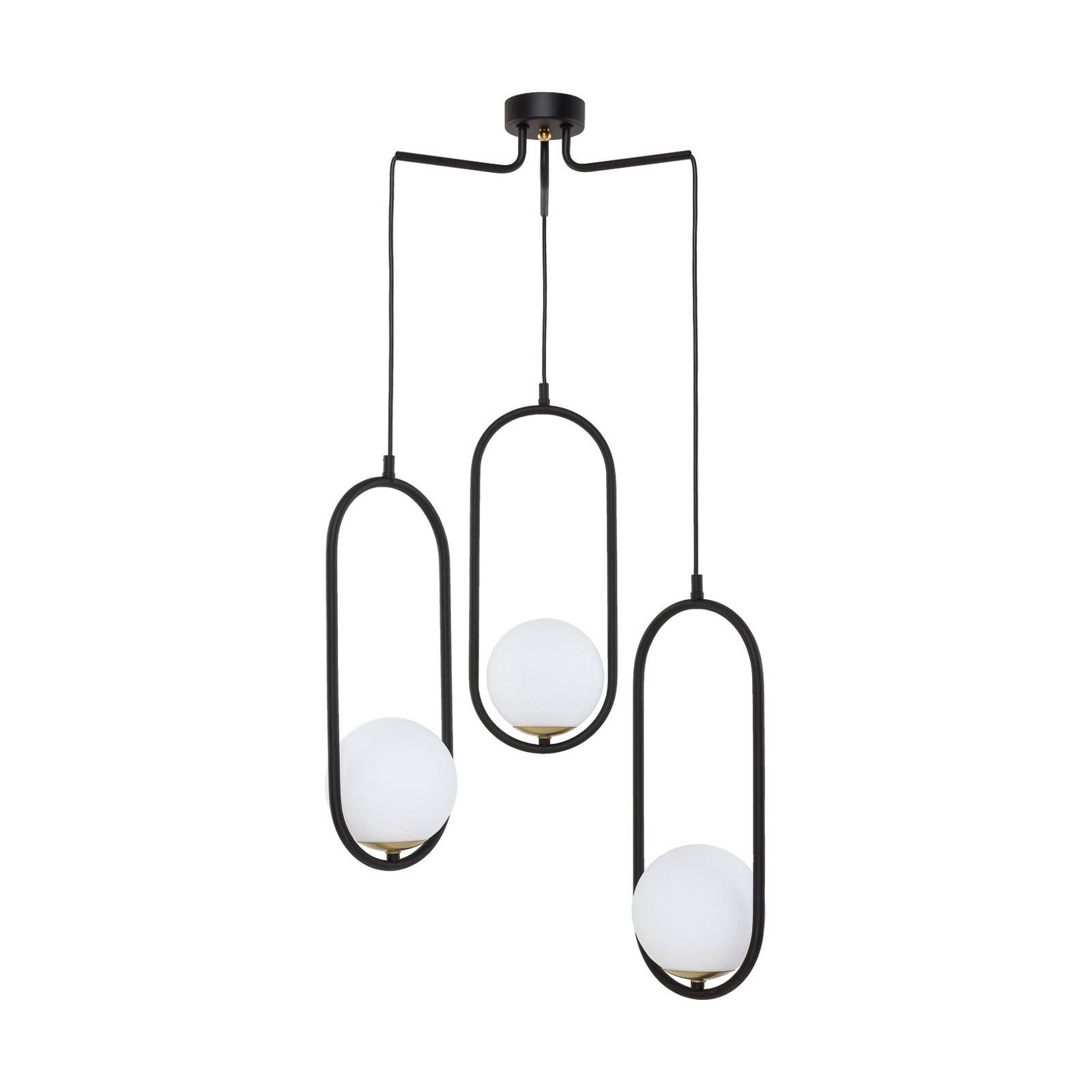 Suspension Samba, verre opale/noire à 3 lampes