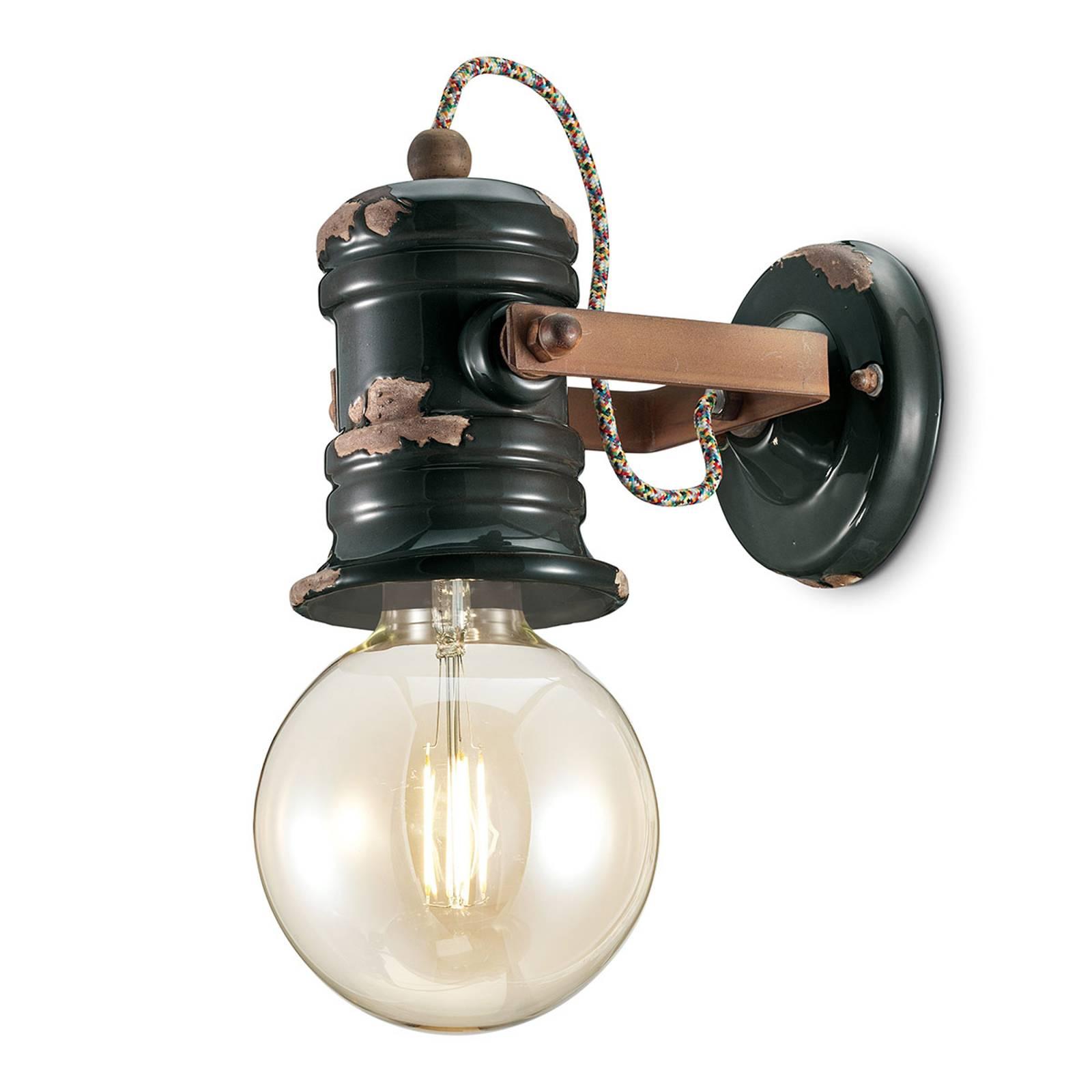 Wandlamp C1843 in vintage design zwart
