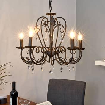 Lámpara de araña Sophina en negro, 5 llamas