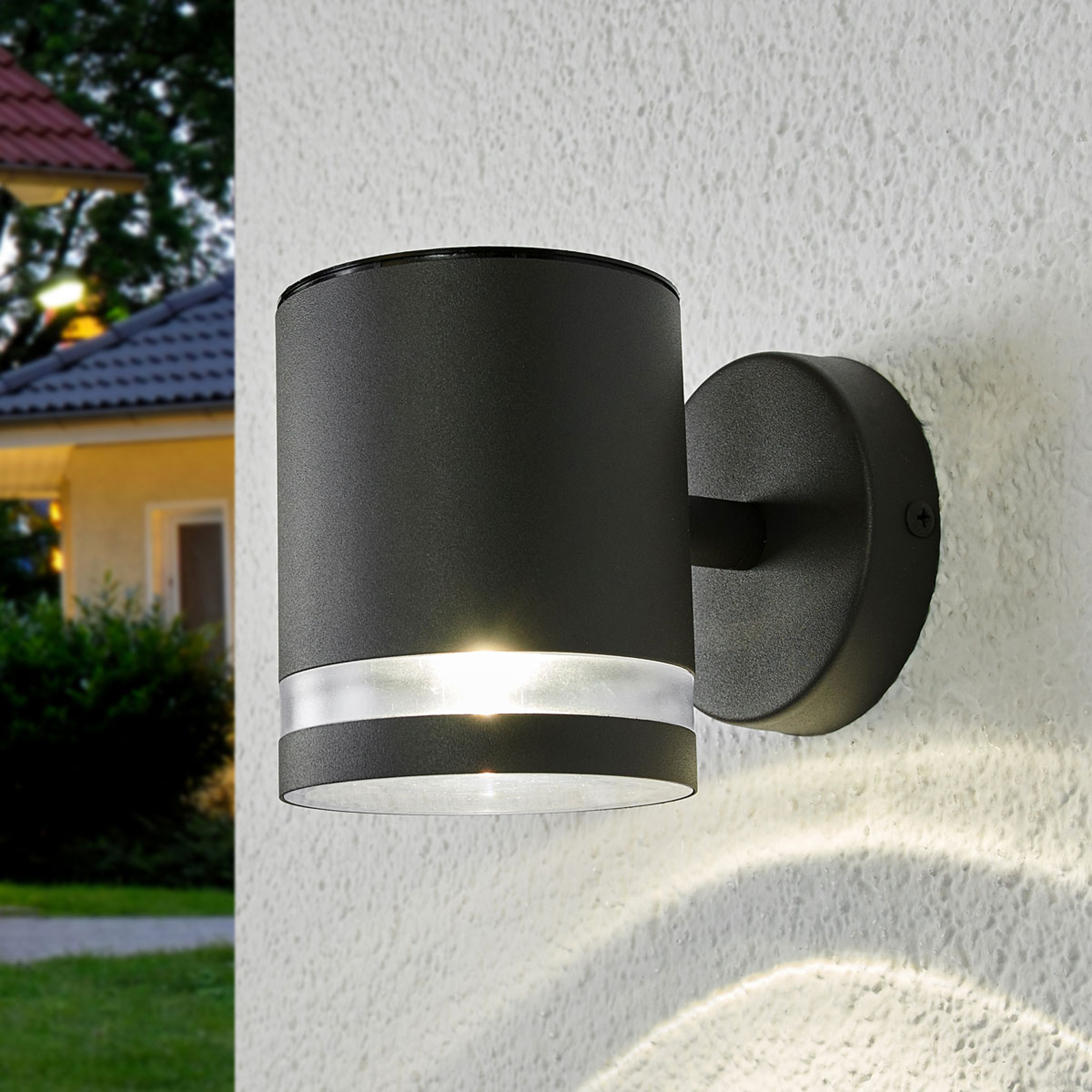 Grå LED-solar-utomhusvägglampa Melinda