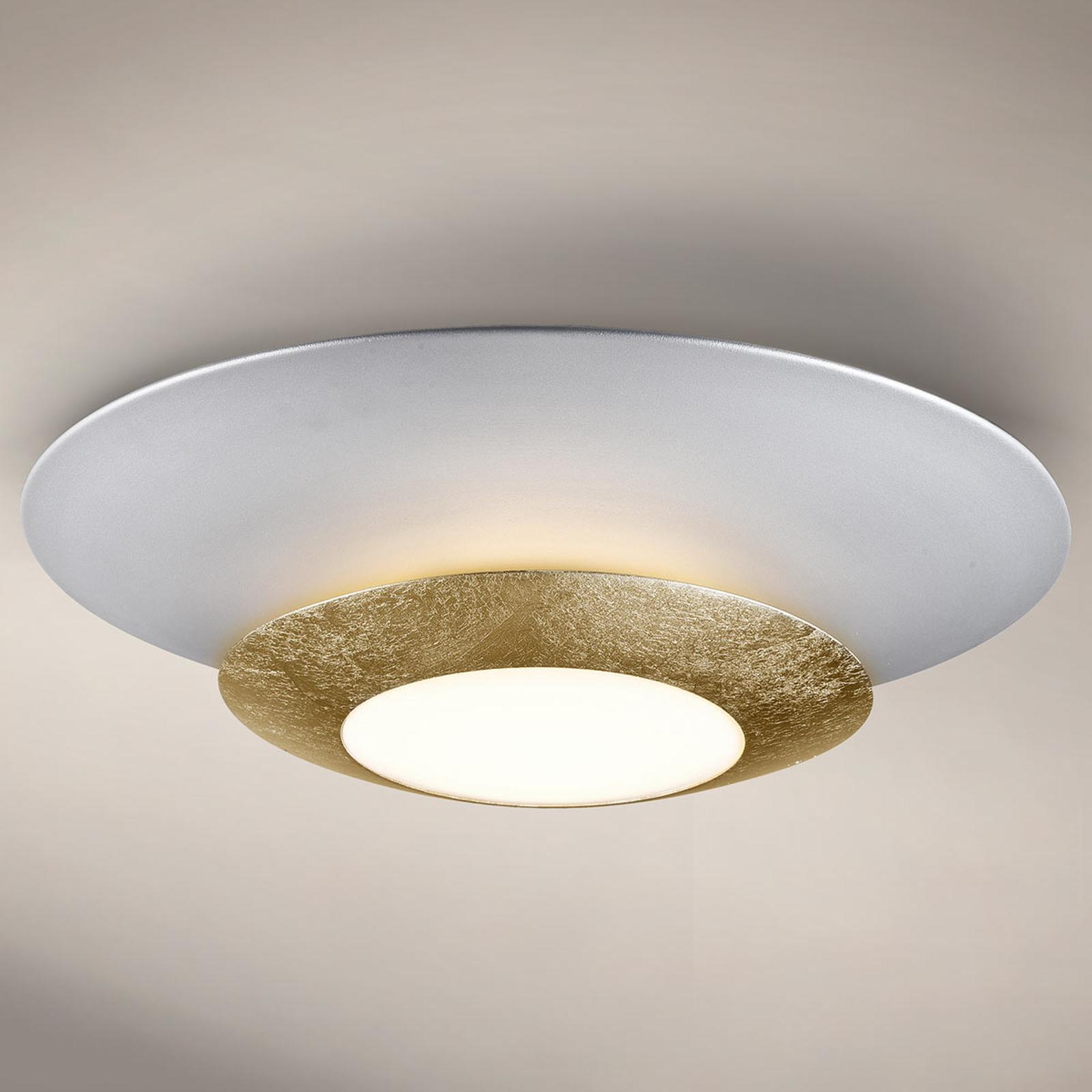 Rund LED-taklampe Hole med gullfolie