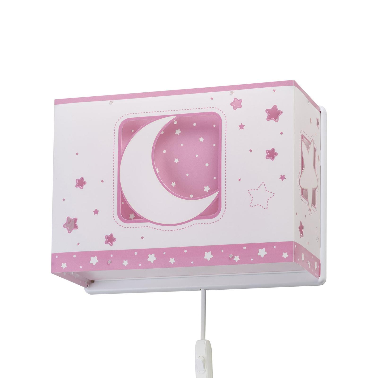 Kinder-Wandleuchte Moonlight mit Stecker, rosa