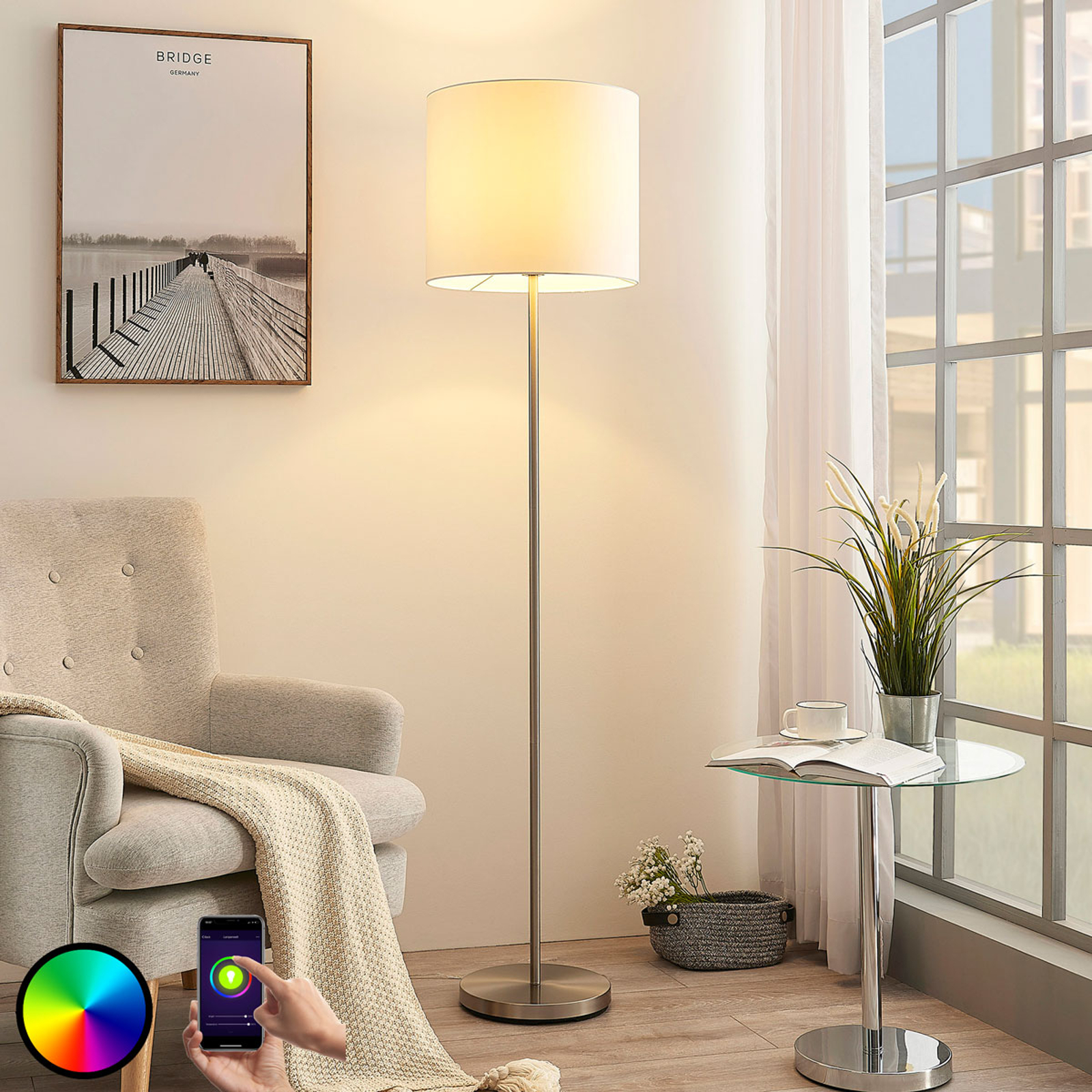 Lindby Smart LED-Stehlampe Everly, App, RGB