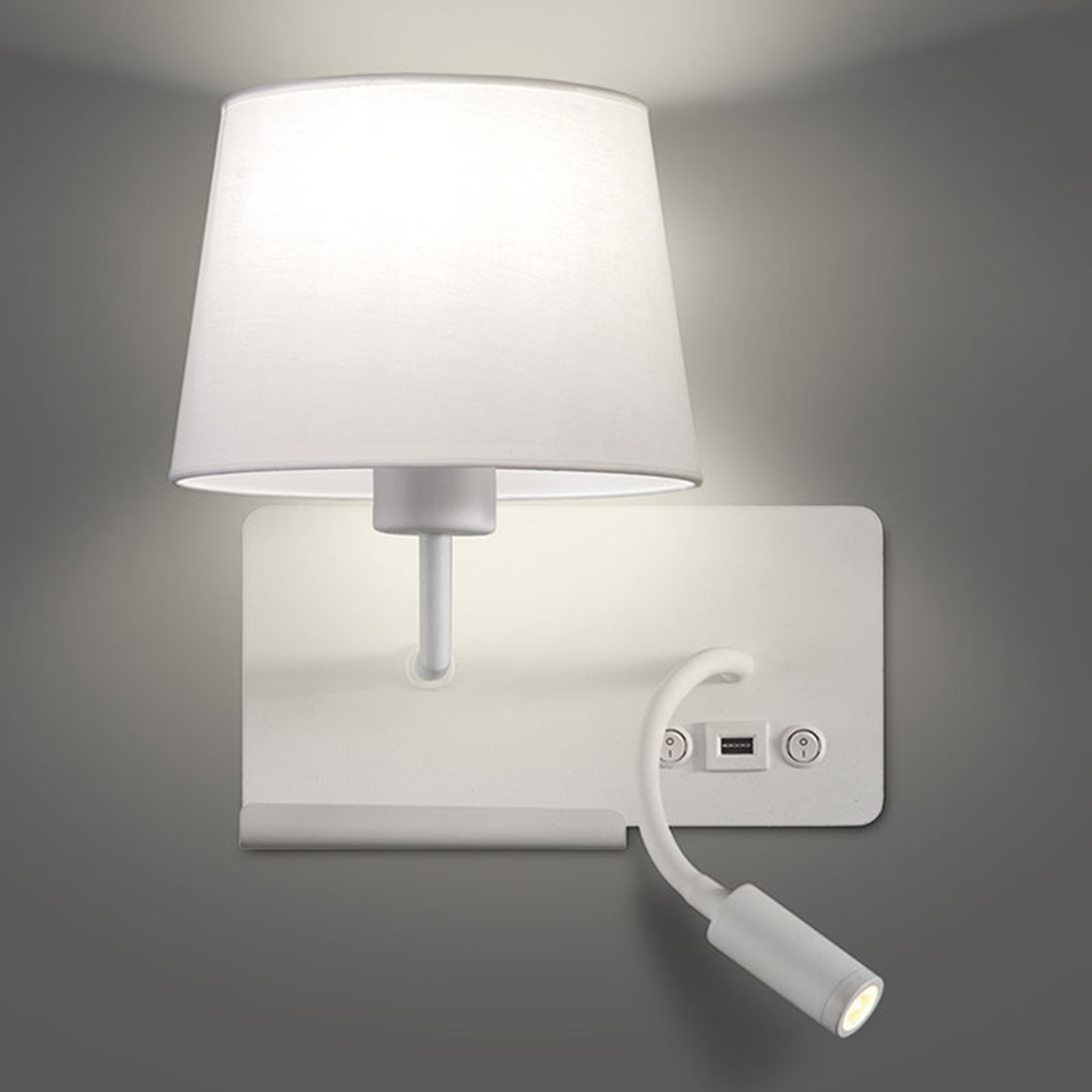 Wandlamp Hold links, incl. leesarm en USB-poort