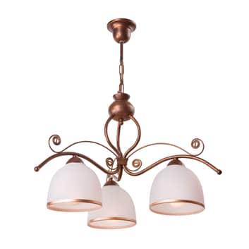 Riippuvalo Roma, valkoinen ja ruskea, 3-lamppuinen