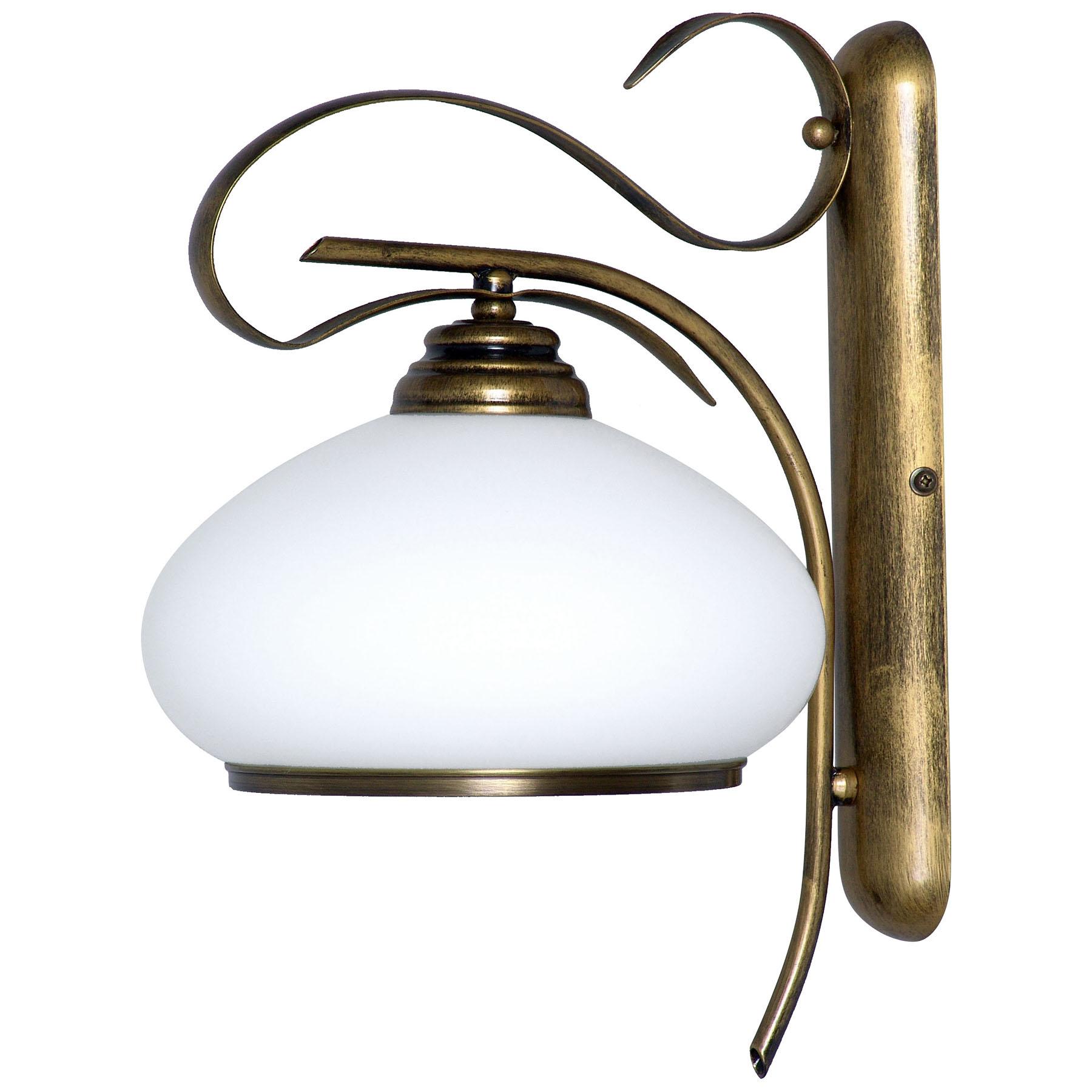 Applique 493, vetro opale/oro anticato, 1 luce
