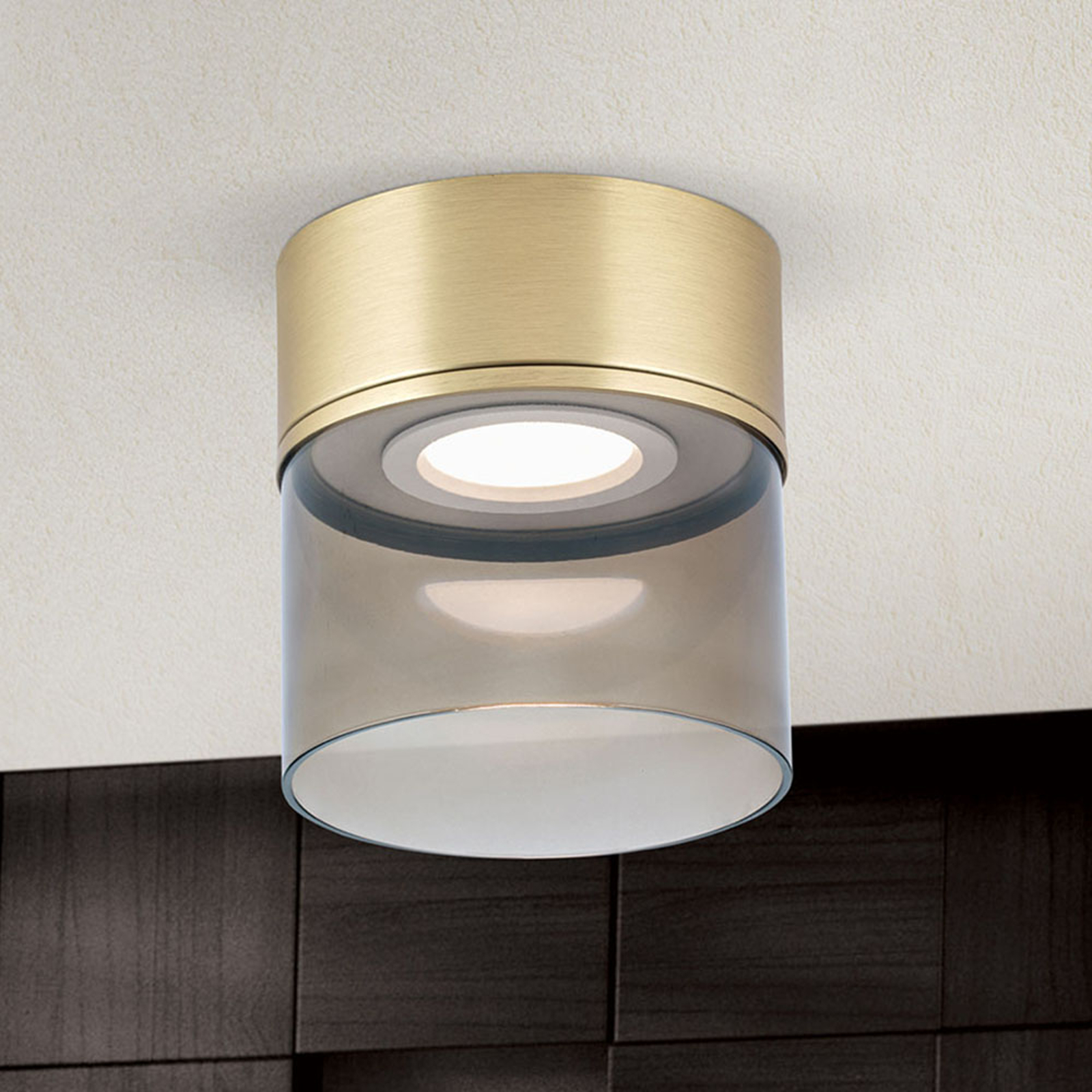 LED-taklampe Francis messing matt Ø 15 cm