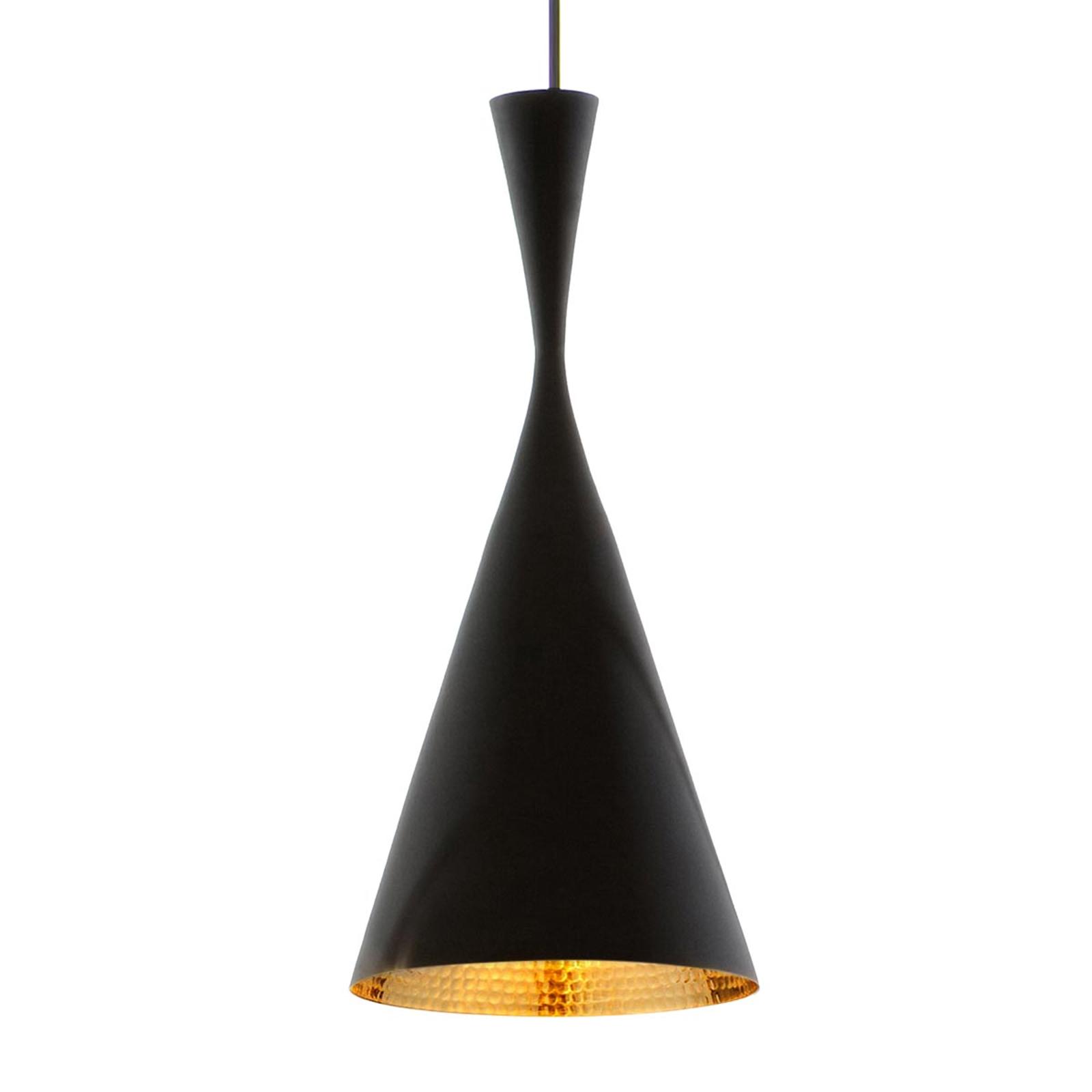 Sottile lampada sospensione Beat Tall ottone nero