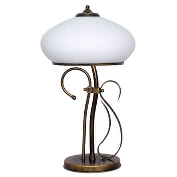 Lampa stołowa 493 szkło opal/złoto antyczne, 60 cm