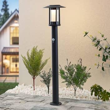 Lindby Volki bolardo luminoso solar LED, sensor