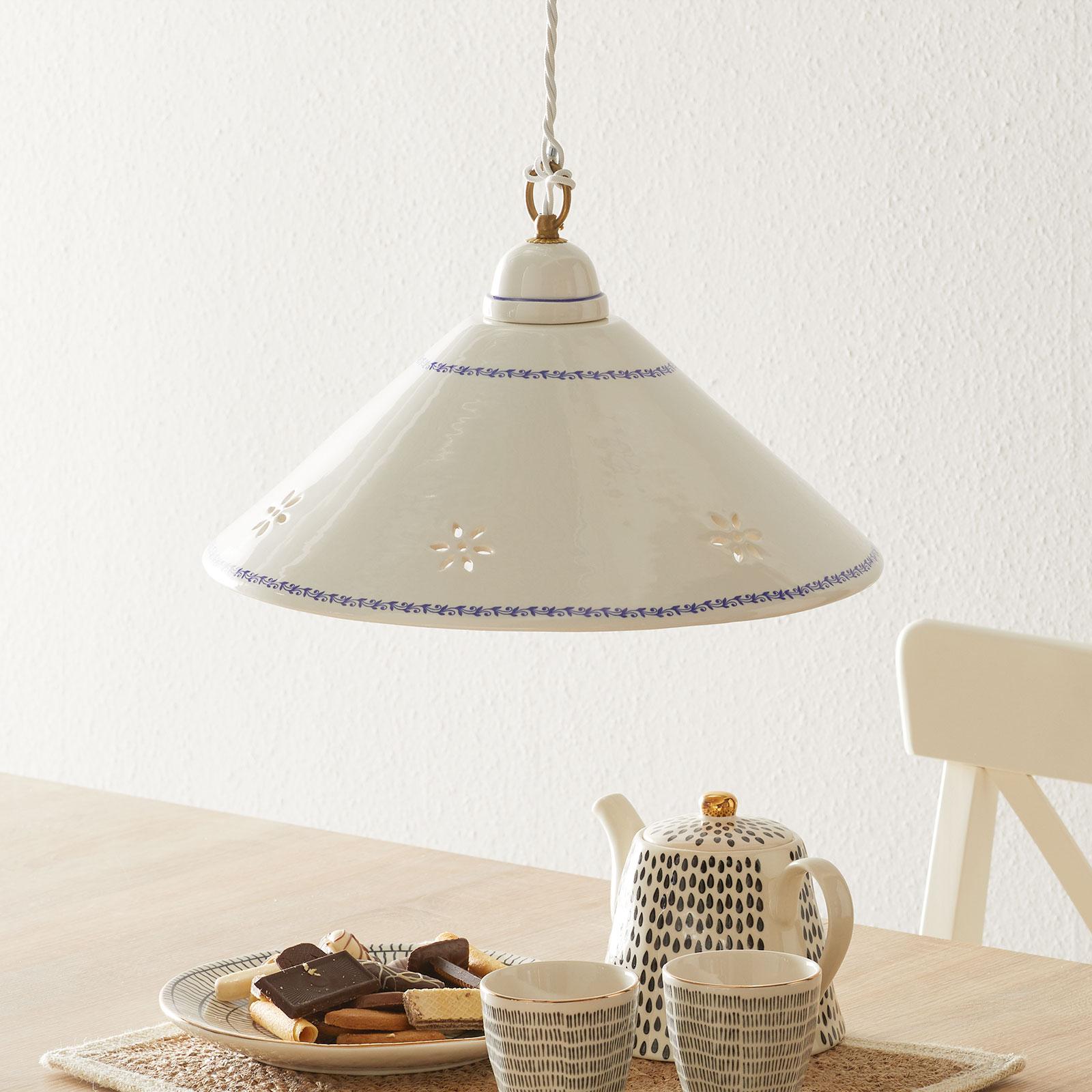 Weiße Hängeleuchte NONNA aus Keramik 40 cm