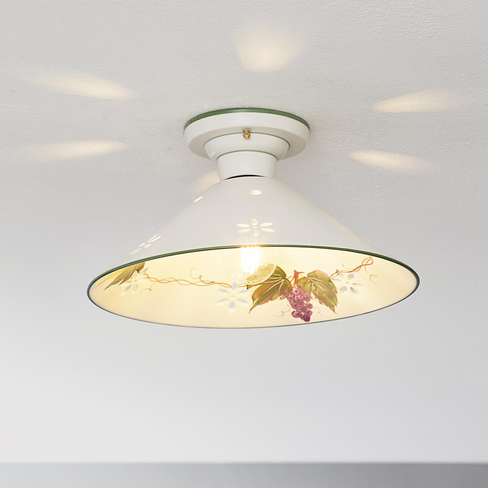 Keramické stropné svietidlo Vigna kvetinový dekor