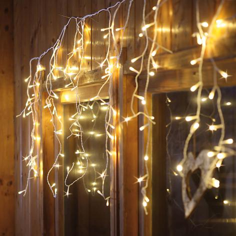Rideau lumineux LED à éclairage blanc chaud