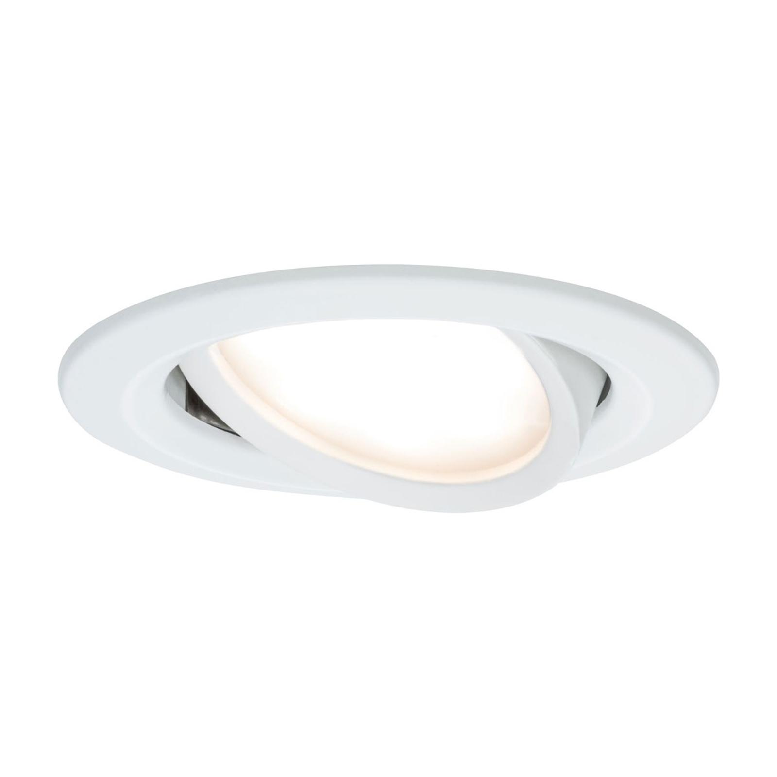 Paulmann 3-delt LED-spot Slim Coin, vippelig, hvid
