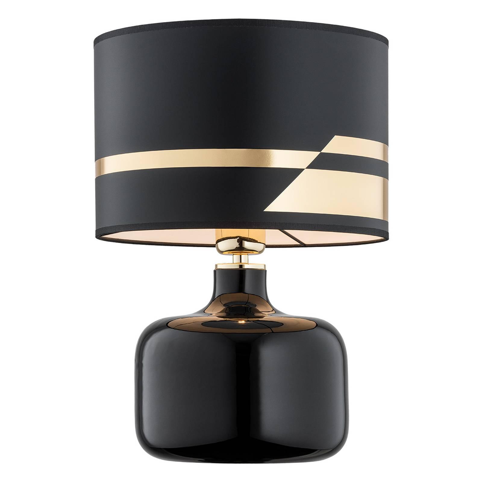 Lampada da tavolo di stoffa Bodo, nero-oro