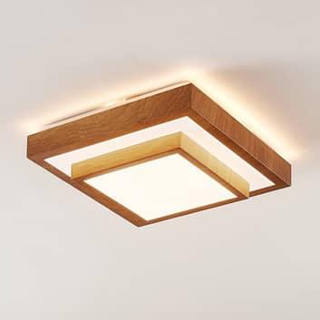 Lindby Mendosa plafón LED, aspecto madera, angular