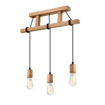 Lámpara colgante Tyske de madera, 3 luces, oliva