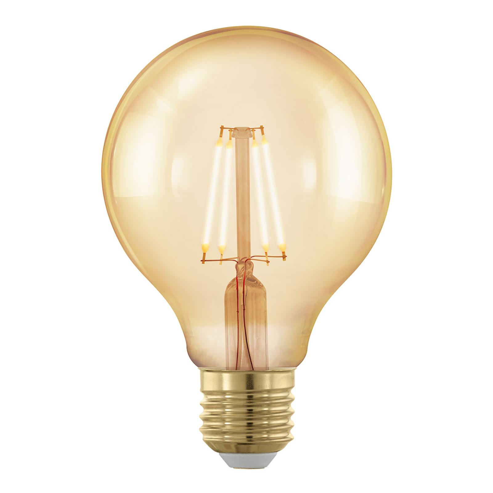 LED-Globe E27 G80 4W Filament 1.700K gold, dimmbar