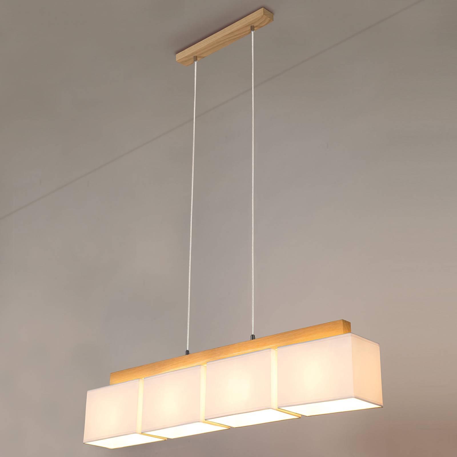 Hanglamp Cassy met vier witte textielkappen